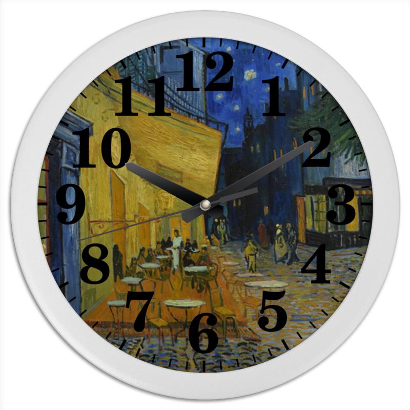Printio Часы круглые из пластика Ночная терраса кафе ( винсент ван гог)