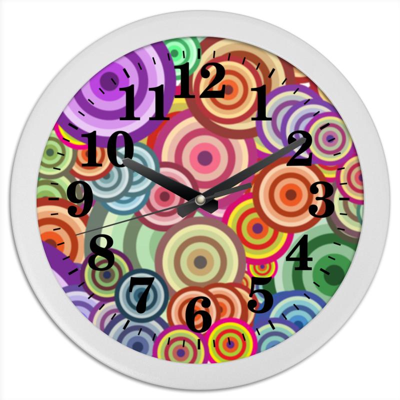 Printio Часы круглые из пластика Цветные круги