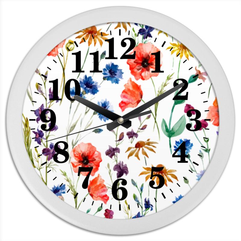 Printio Часы круглые из пластика Полевые цветы