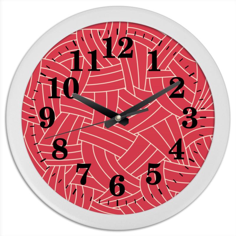 Printio Часы круглые из пластика Красная абстракция