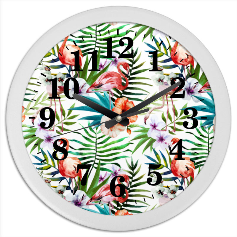 Printio Часы круглые из пластика Фламинго
