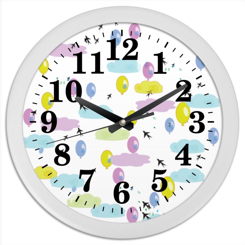 Printio Часы круглые из пластика Облачный город