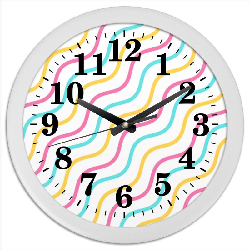 Printio Часы круглые из пластика Волны
