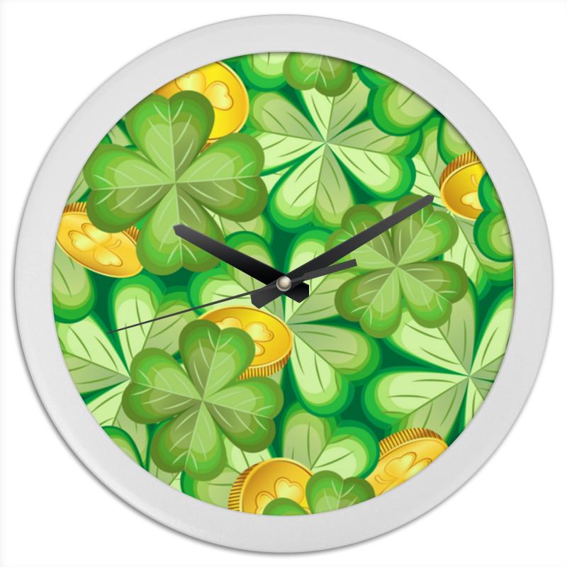 Printio Часы круглые из пластика Клевер & монеты