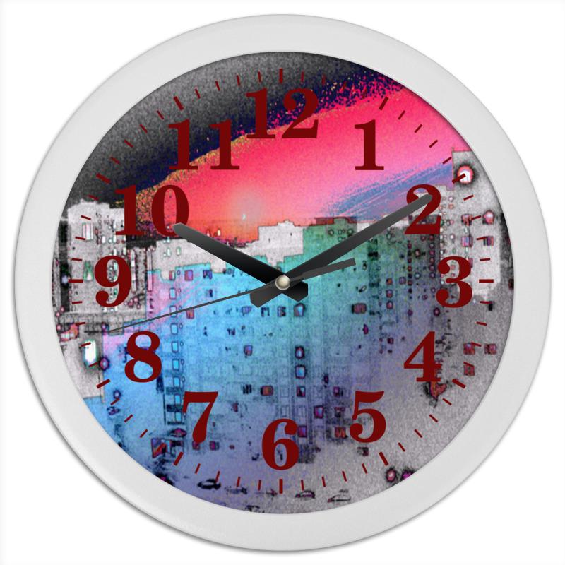 Printio Часы круглые из пластика Город в моем исполнении