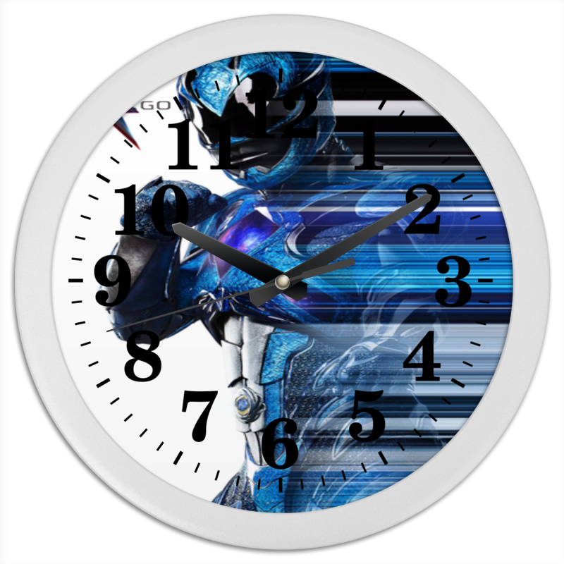 Printio Часы круглые из пластика Могучие рейнджеры