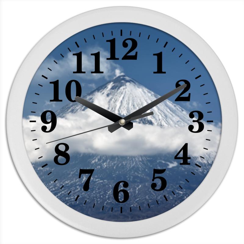 Printio Часы круглые из пластика Камчатка, осенний пейзаж, извержение вулкана