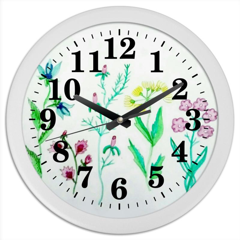 Printio Часы круглые из пластика Часы луговые цветы
