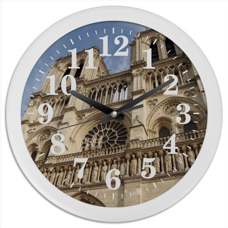 Printio Часы круглые из пластика Собор парижской богоматери