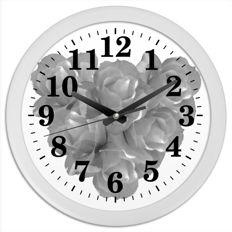 Printio Часы круглые из пластика Сердечко из роз