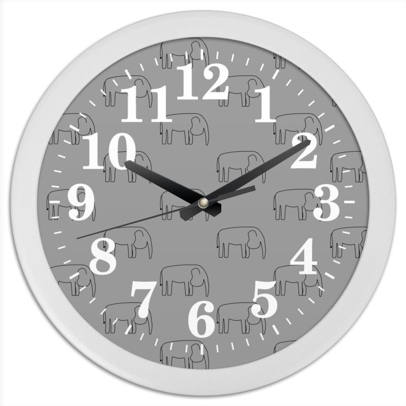 Printio Часы круглые из пластика Черный слон