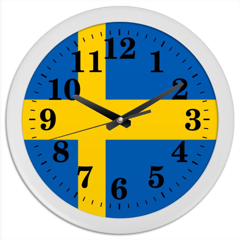 Printio Часы круглые из пластика Флаг швеции