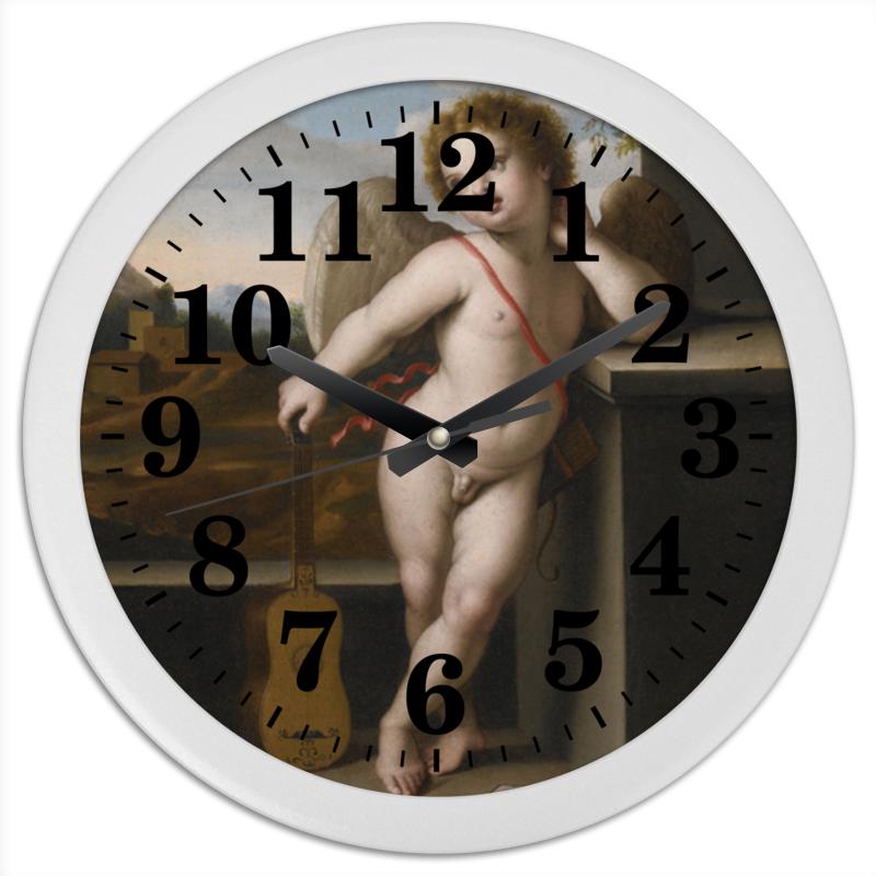 Printio Часы круглые из пластика Ангел с гитарой (джованни сассоферрато)