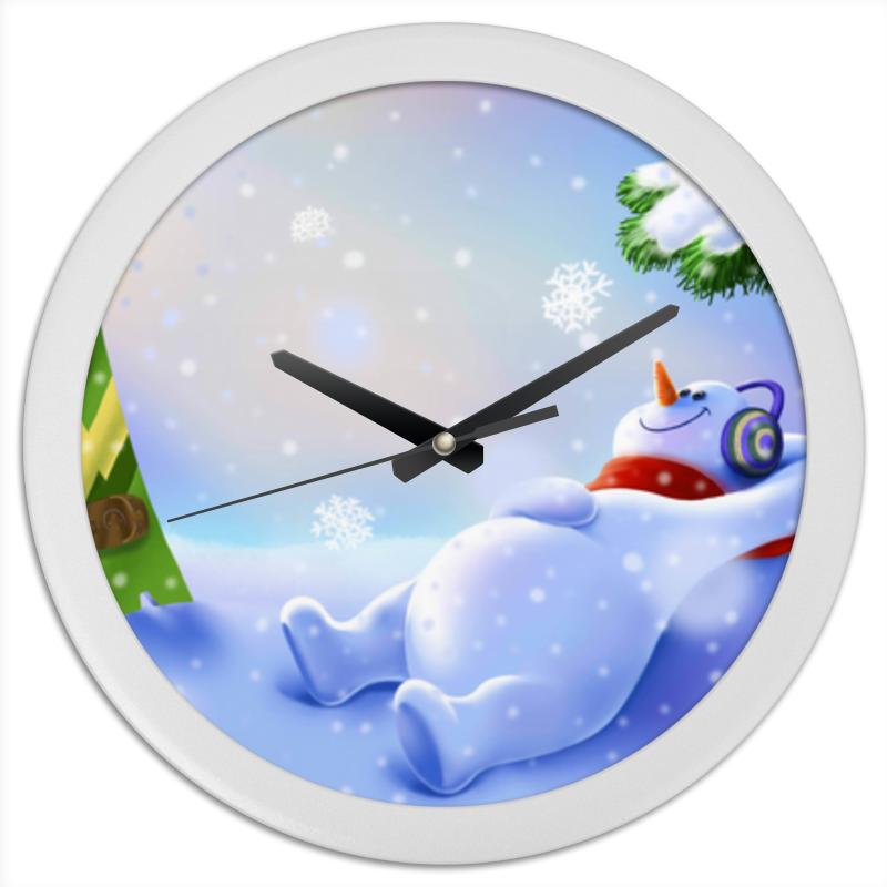 Printio Часы круглые из пластика Снеговик
