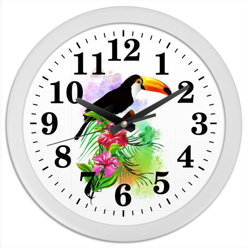 Printio Часы круглые из пластика Тропические птицы от зорго арт.