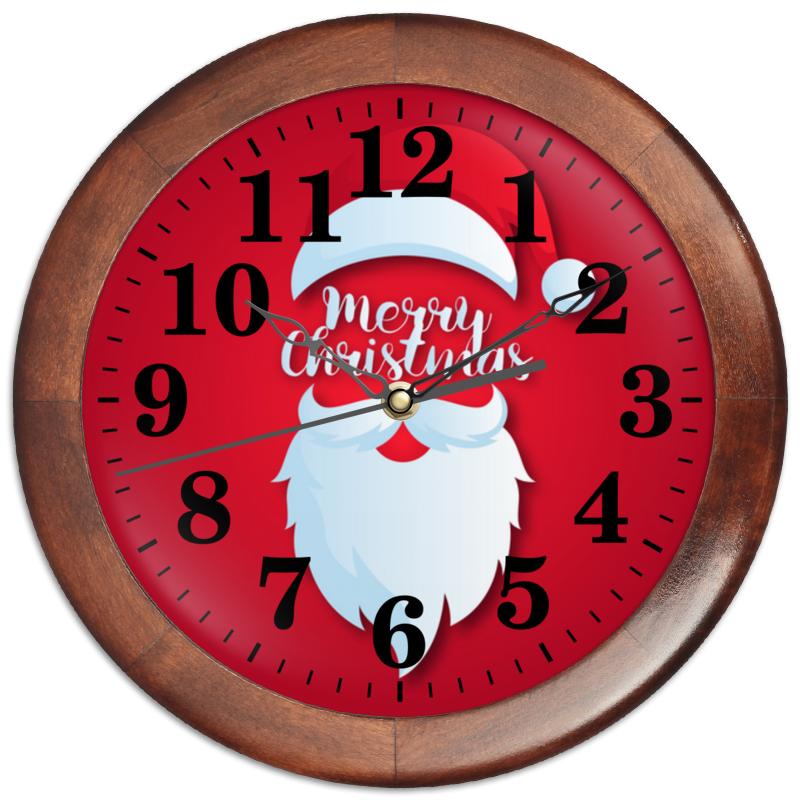 Printio Часы круглые из дерева Санта клаус