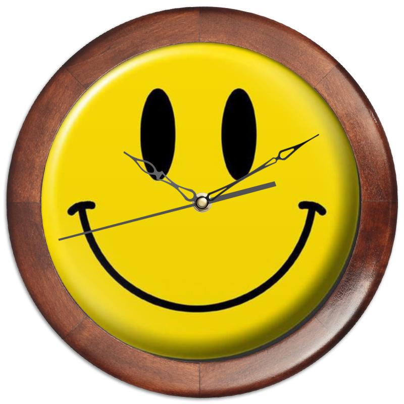 Printio Часы круглые из дерева Smile face