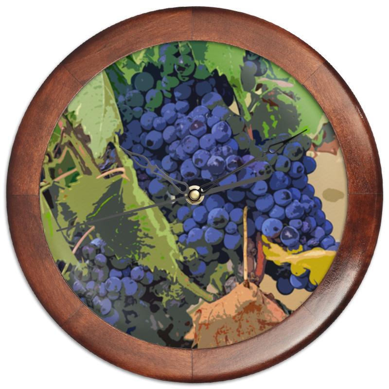 Printio Часы круглые из дерева Виноград