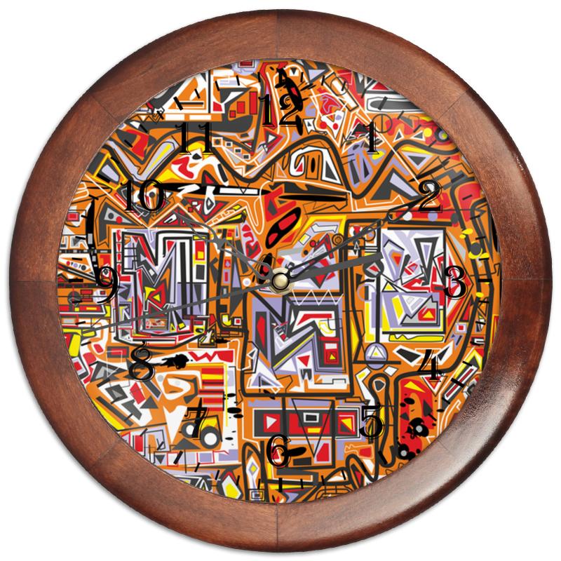 Printio Часы круглые из дерева Оранжевый дом.