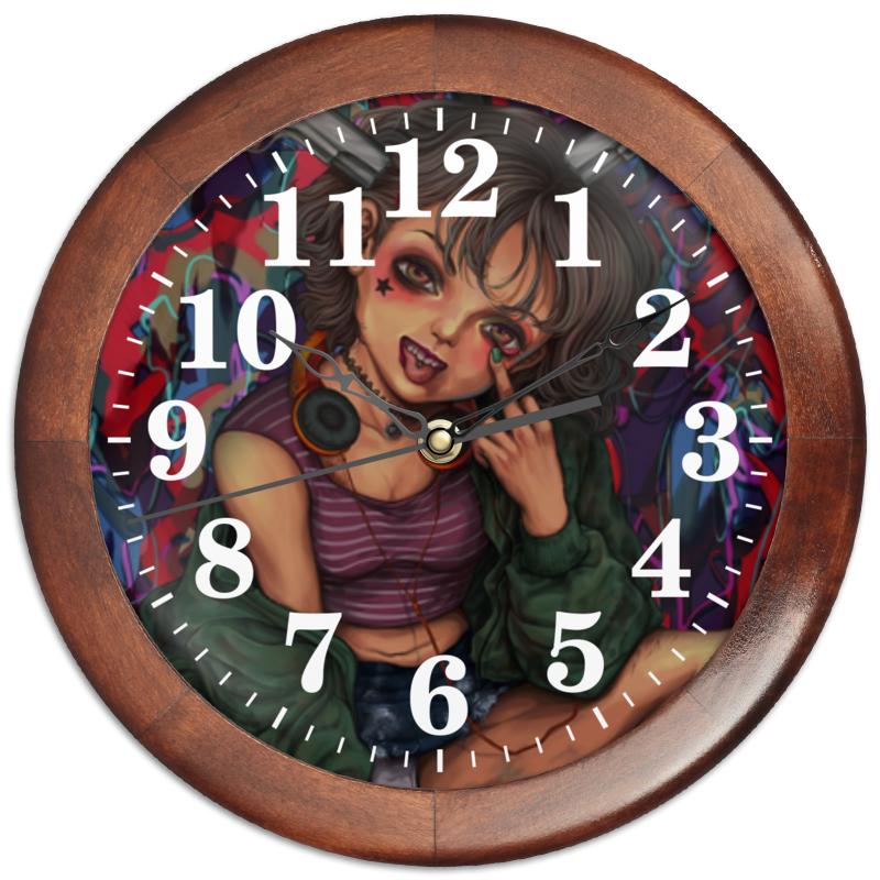 Printio Часы круглые из дерева Мятежница