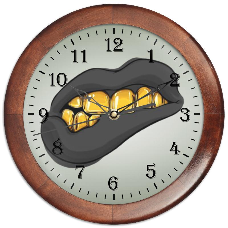 Printio Часы круглые из дерева Золотая ухмылка