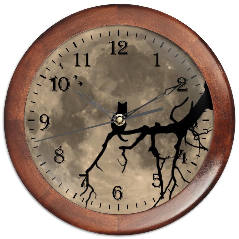 Printio Часы круглые из дерева Луна и кот часы paprcuts watch девочка и луна 0l 00039732
