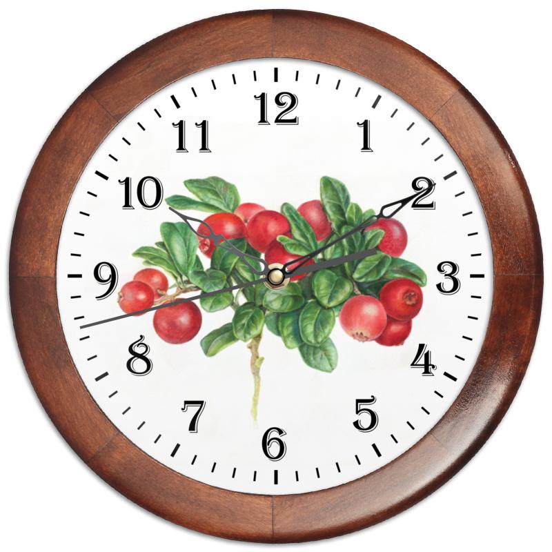 Printio Часы круглые из дерева Сочная брусника