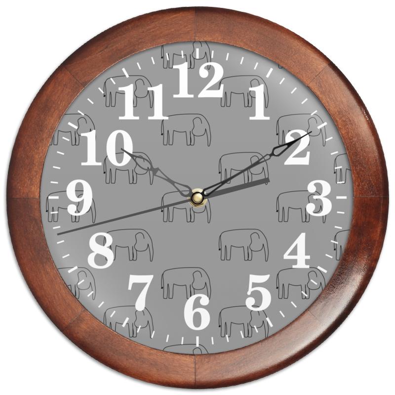 Printio Часы круглые из дерева Черный слон