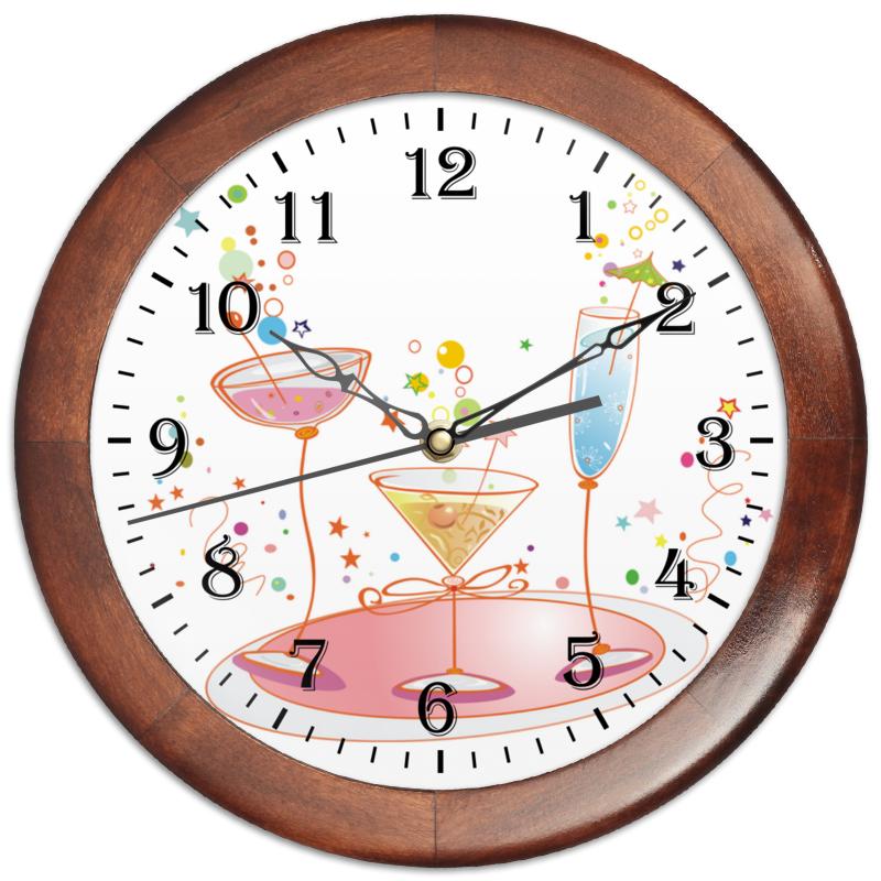 Printio Часы круглые из дерева Напитки