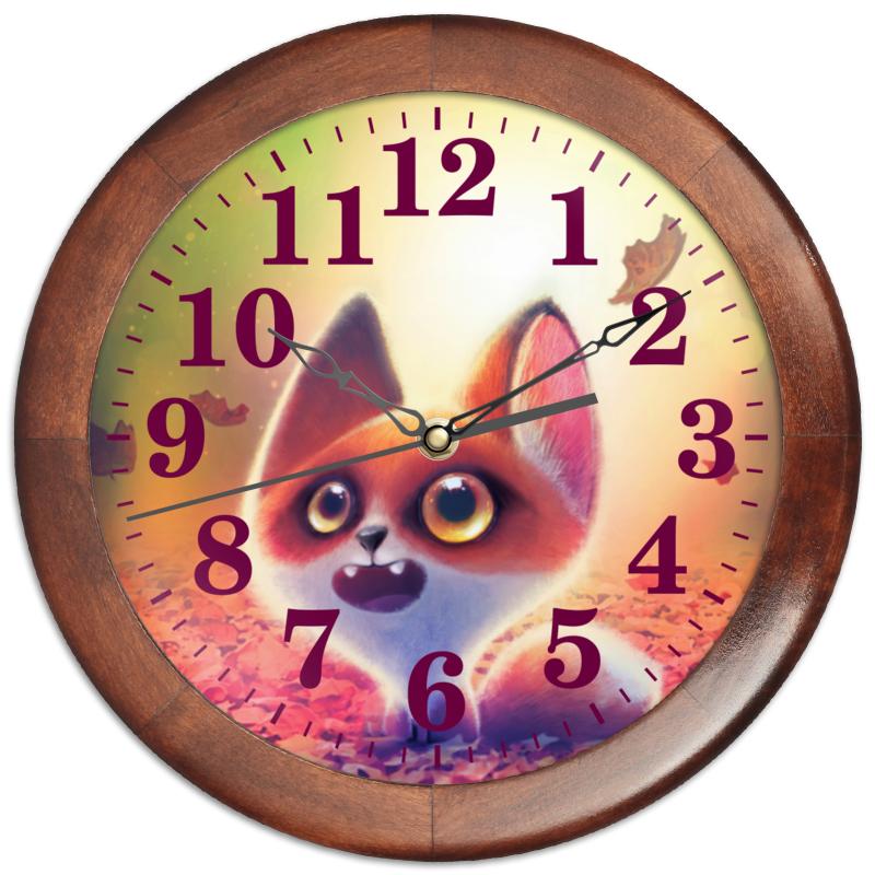 Printio Часы круглые из дерева Лисенок