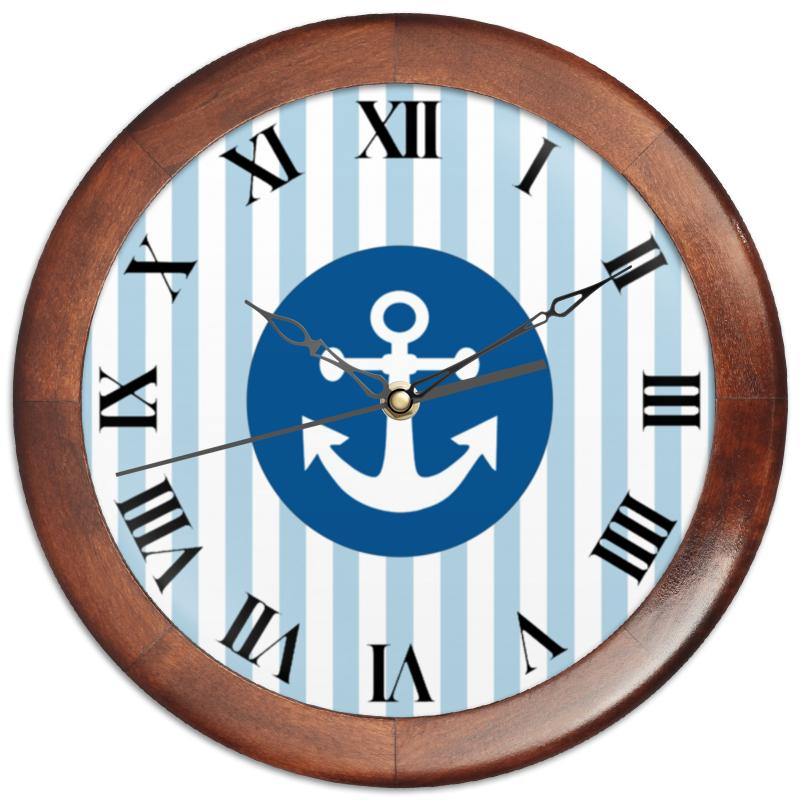 Printio Часы круглые из дерева Морской волк