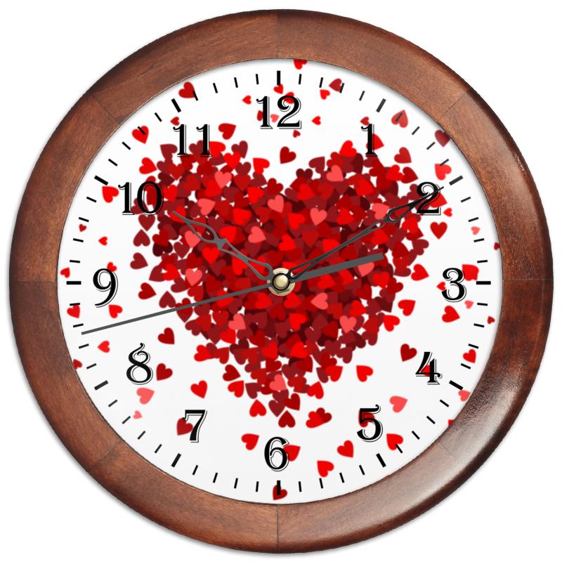 Printio Часы круглые из дерева Сердце с лепестками