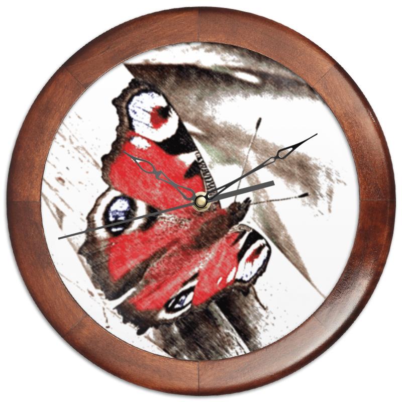 Printio Часы круглые из дерева Бабочка