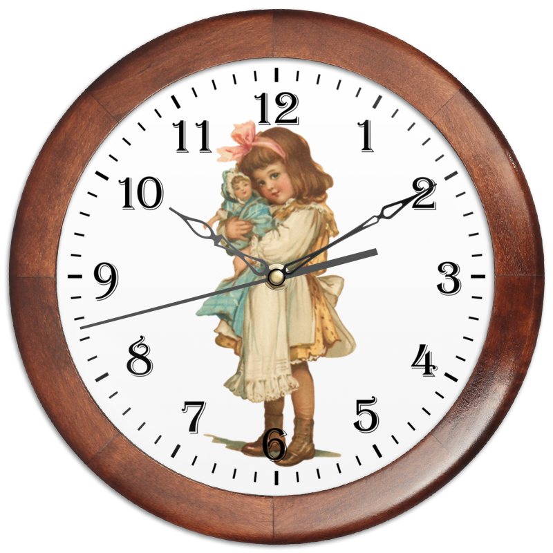 Printio Часы круглые из дерева Девочка с куклой. часы paprcuts watch девочка и луна 0l 00039732