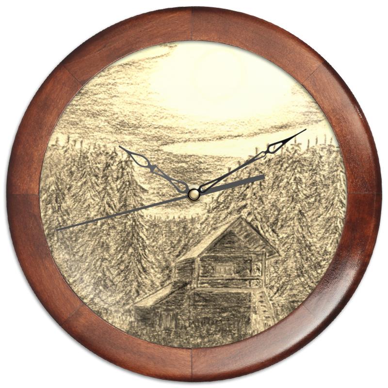 Printio Часы круглые из дерева Русский север