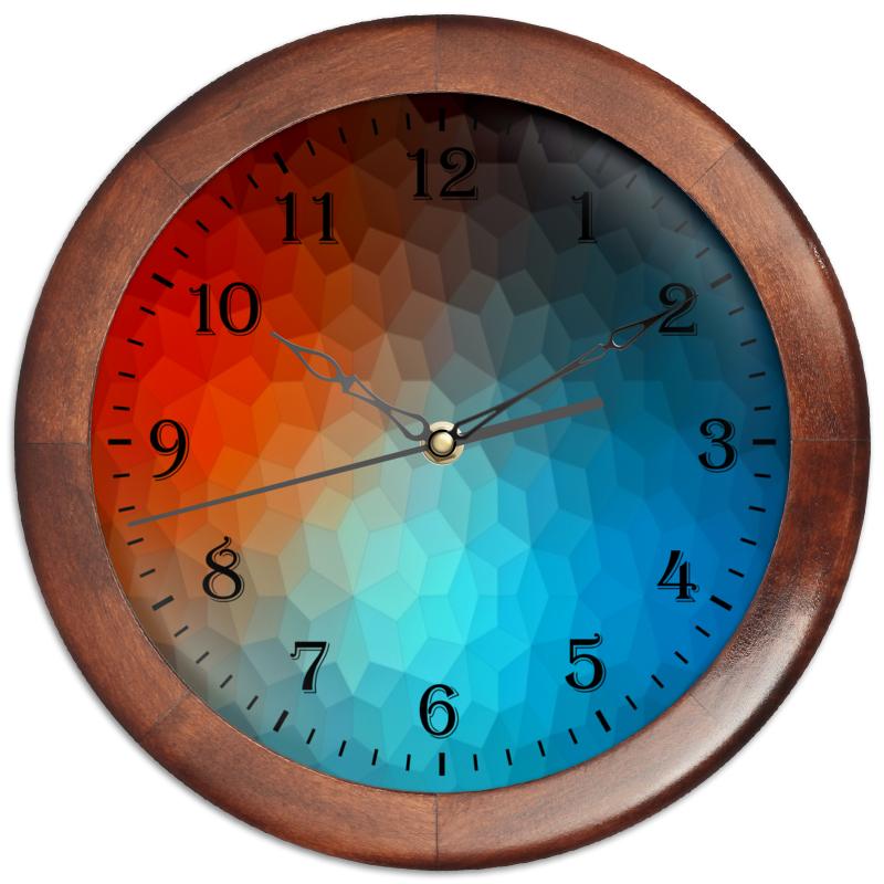 Printio Часы круглые из дерева Polygon color