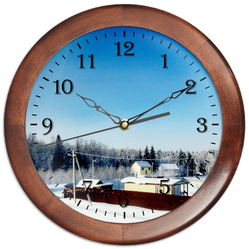 Printio Часы круглые из дерева Зима. мороз. солнце.