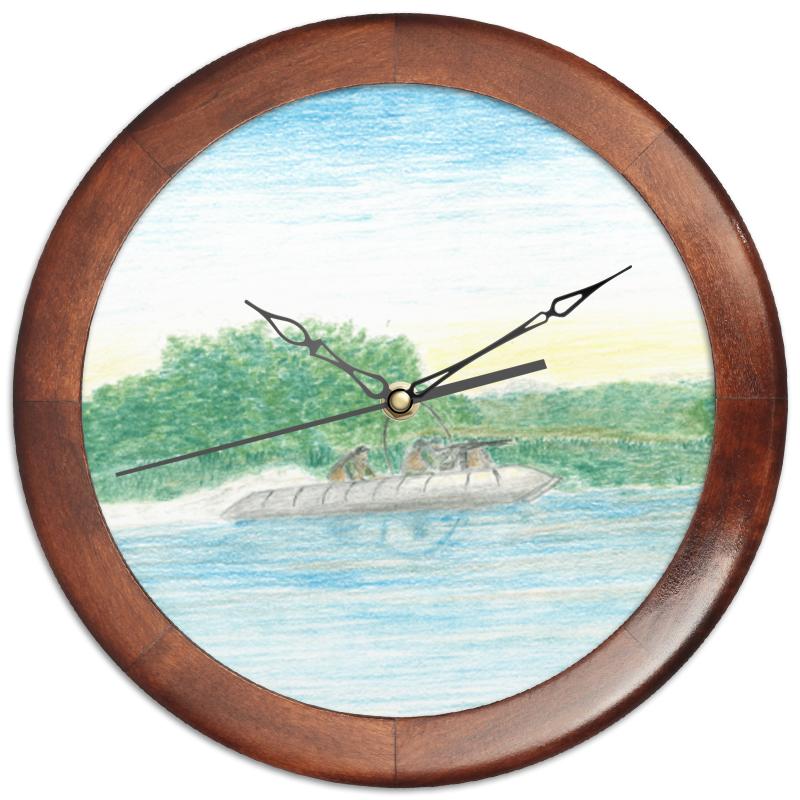 Printio Часы круглые из дерева Рейд, джунгли