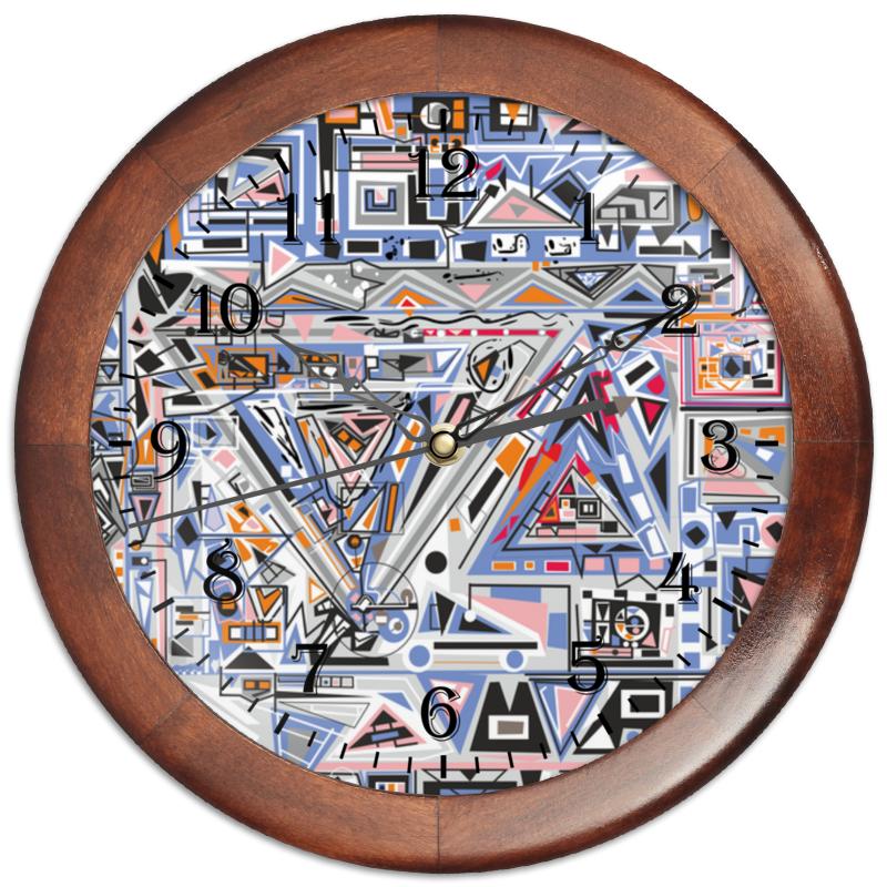 Printio Часы круглые из дерева Ташизм