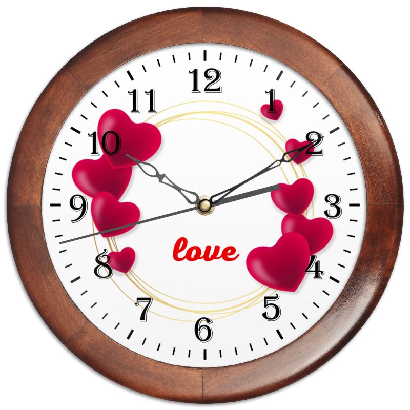 Printio Часы круглые из дерева Любовная надпись.