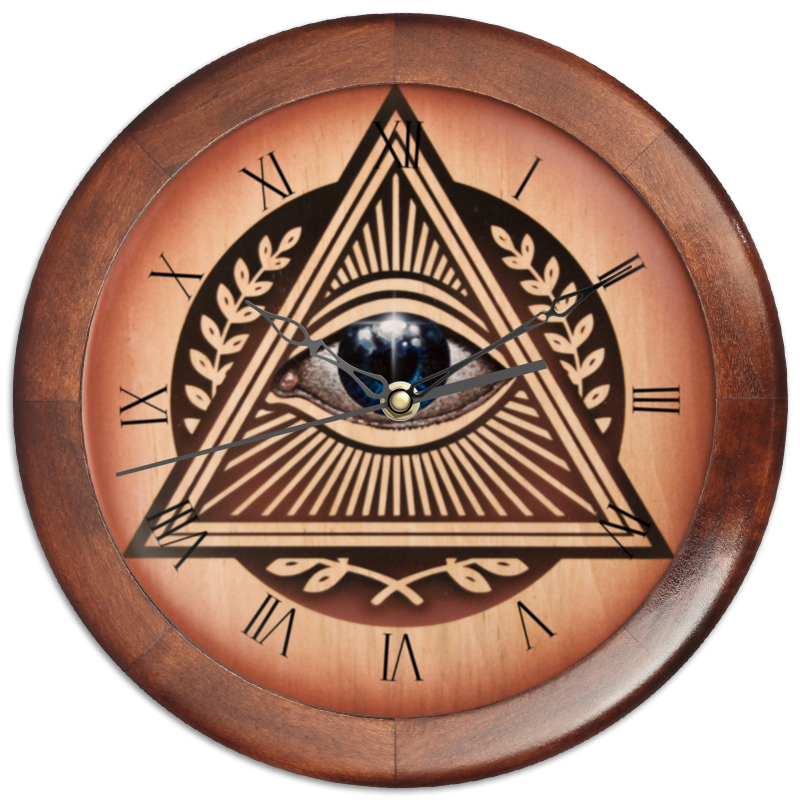 Printio Часы круглые из дерева Иллюминаты
