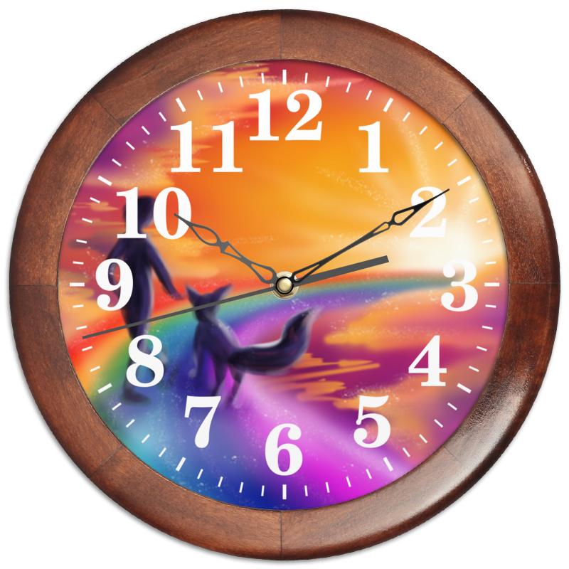 Printio Часы круглые из дерева Радужный путь