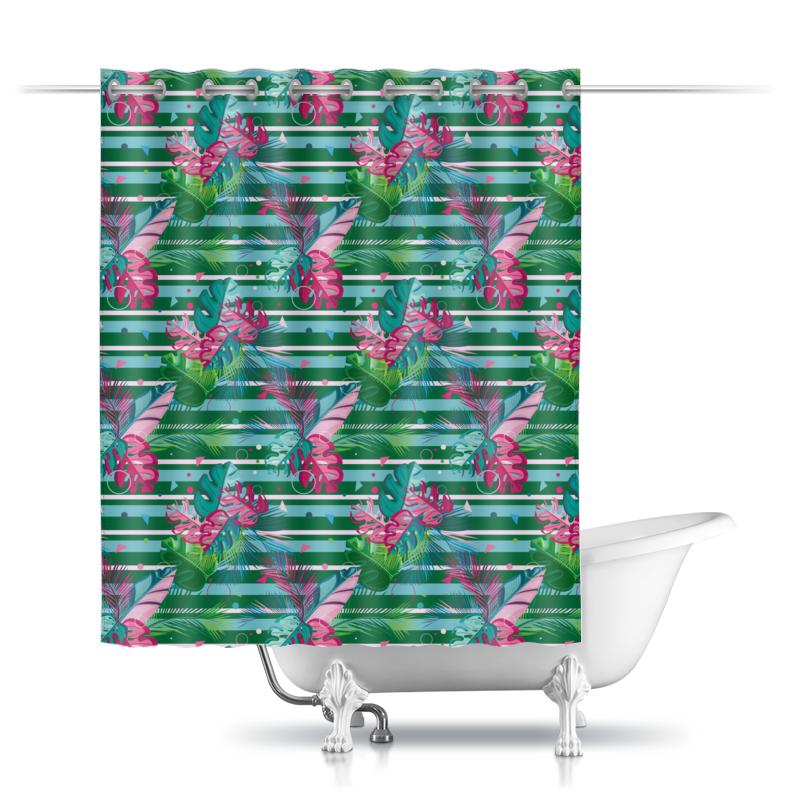 Фото - Printio Шторы в ванную Полосатые тропики printio подушка для шеи полосатые тропики