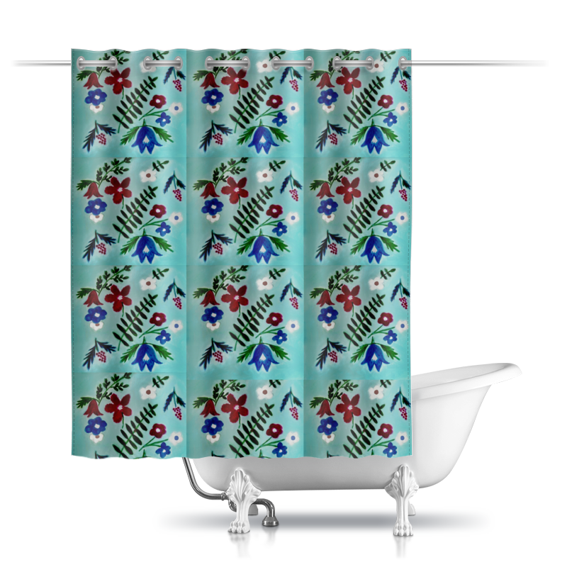 Printio Шторы в ванную Цветы на голубом printio шторы в ванную полевые цветы