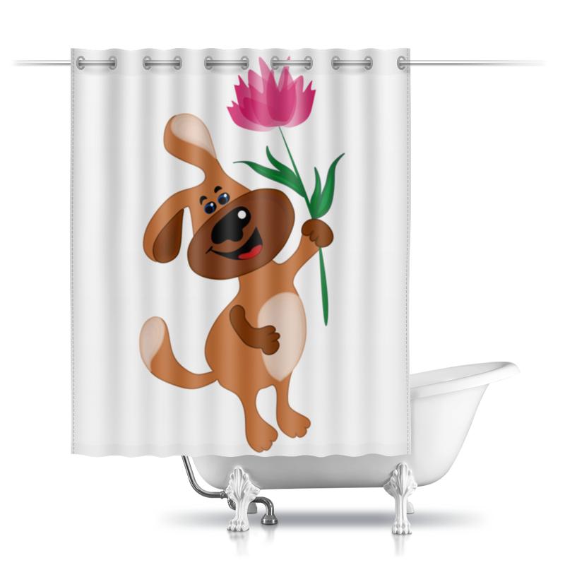 Printio Шторы в ванную Пес держит в лапе цветочек