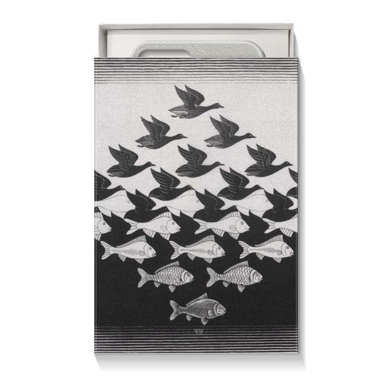 Printio Коробка для чехлов Черно белая рыбы птицы