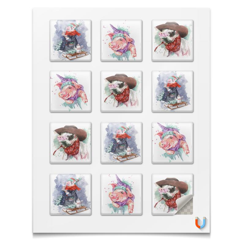 Printio Магниты квадратные 5×5 см Новогодние свинки для подарков