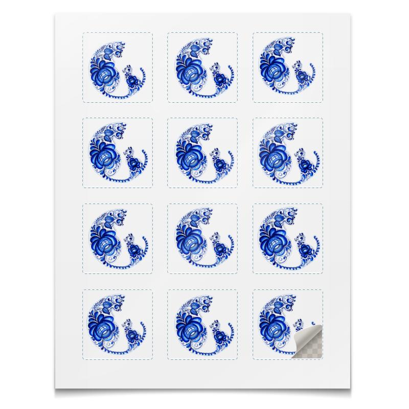 Printio Наклейки квадратные 5×5 см Кошка с котёнком , гжель.