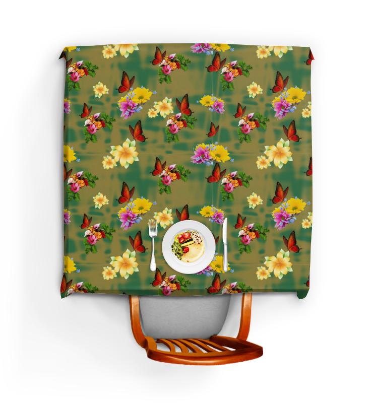 Printio Скатерть квадратная Цветы и бабочки