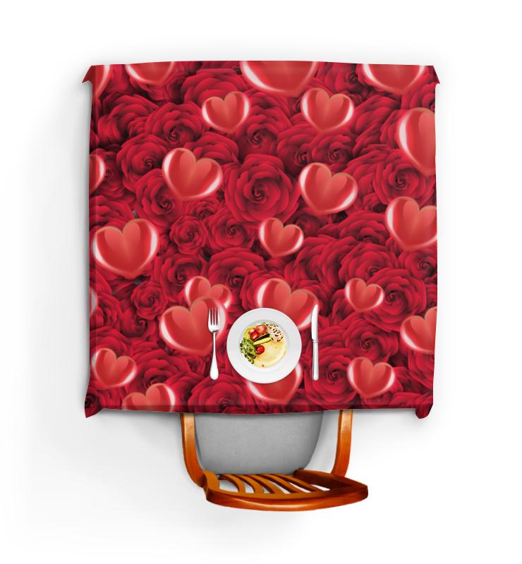 Printio Скатерть квадратная Сердечки и розы